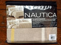 Nautica Beige Plaid Queen Duvet Covet Set