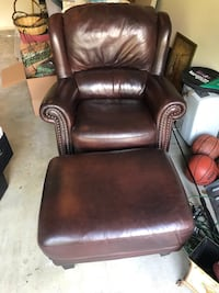 Dark brown chair and ottoman