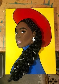 12x16 Acrylic Portrait of Janelle Monáe (with braiding hair attached) Gaithersburg, 20877