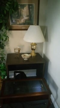 brown wooden base white lampshade table lamp Monroe, 71201