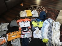 Boys 0-3 and 3 month clothes EUC 6-2pc outfits 2-3pc outfits  1 pair of jeans  5-sleepers 4-short sleeve onesies  2-long sleeve onesies
