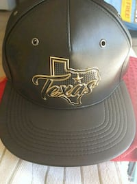 black and gold Texas embroidered leather cap Alton, 78573