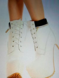 cream and white lace up