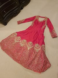 red and gold long-sleeved anarkali Surrey, V3S 7W7
