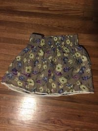 toddler's brown floral skirt