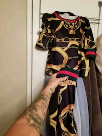 Gucci inspired black/yellow tracksuit set