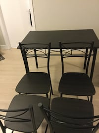 small Rectangular black wooden table with four chairs dining set 3734 km