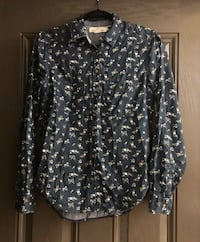 women's black and white floral sport shirt