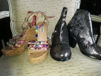 two pairs of black and brown leather heeled shoes Pembroke Pines, 33025