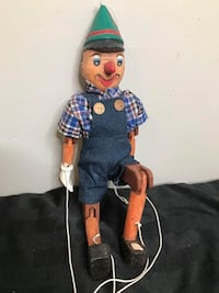 Hand Carved & Hand Painted Wooden Pinocchio Marionette 16 Inches High. Toronto