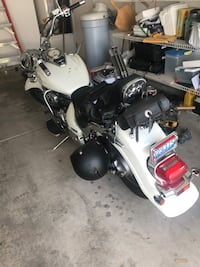 white and black touring motorcycle Las Vegas, 89123