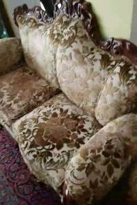brown and white floral fabric sofa Montreal, H3R 3L4