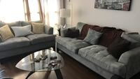 Living room set . Sofa and love seat . This is not new and one of the leg part is broker but still seat-able price is firm    Mississauga, L5B 0G8