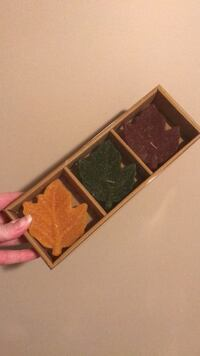 Set of 3 frosted leaf candles Winnipeg, R2K 2K5