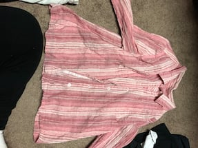 Pink and white stripe long-sleeved shirt