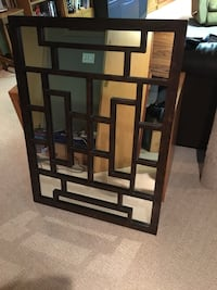 Brown wooden framed wall mirror 3'x4'