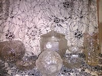seven clear cut-glass vase, jar, and bowl collection Edmonton, T5N 1G3