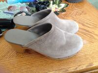pair of gray suede wedge sandals Medicine Hat, T1A 5L7