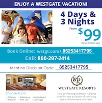 Enjoy a Westgate Vacation. Mention Discount Code in last picture when you call to get more info! Upper Marlboro, 20774