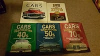 four assorted color die cast cars