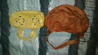 yellow and brown leather hand bags