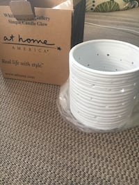 White candle holder by At Home America  Levittown, 11756