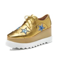 JOSASE MEZZA CHUNKY WEDGED LEATHER SHOES IN GOLD  Istanbul