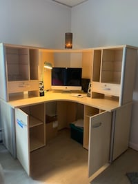 Office desk, file cabinet with bookshelf