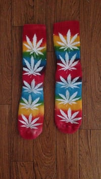 two red and yellow cannabis print socks Westwego, 70094
