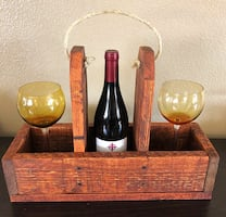Wine bottle and wine glass holder/tote. Nice gift idea!