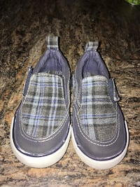Gray-and-blue plaid slip on shoes Lloydminster (Part)