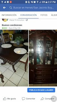 brown wooden china cabinet Facebook screenshot San Bernardino, 92410