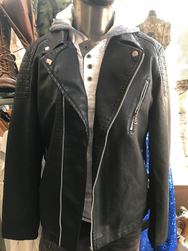Men's leather Pu black jacket sizes small medium large Xl