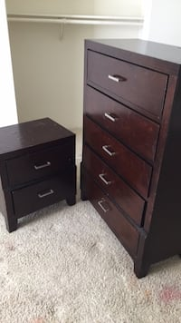 brown wooden 5-drawer tallboy dresser 1212 mi