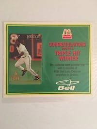 Rare Joe Carter McDonalds Redemption phone card. Nice momento of Joe's historic World Series Home Run. See my other Jays items and perhaps we can work a bundle deal. Toronto, M6G 4B5