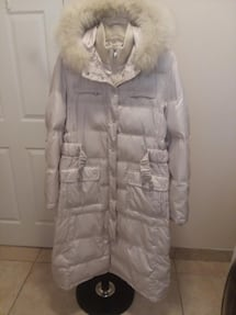 "Very nice Maxi length Coat -Detachable Hood - 65% Down, 35 % Feathers - Sizes L \ XL.  Zipper and cover snaps. 45"" from shoulder to bottom. ""LAUNDRY"" brand. Warm and convenient for fall/winter."