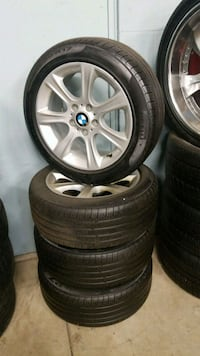 gray BMW 5-spoke wheel with tire set