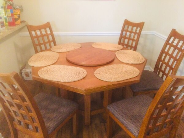 Wooden Octagonal Dining Table Chairs Mats