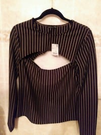 women's black and white pinstripe long-sleeved blouse