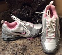 Nike white, pink, gray, & silver running shoes ( new )
