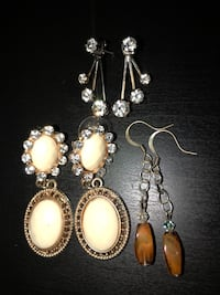3 Pairs Costume Jewelry Earrings