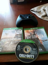 3 xbox one games and controller