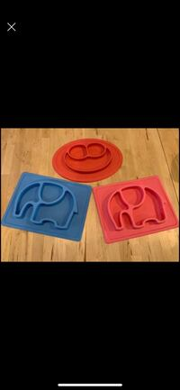 Set of 3 suction silicone baby food mats