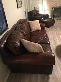 Leather Sofa, Oversized Chair & Ottoman