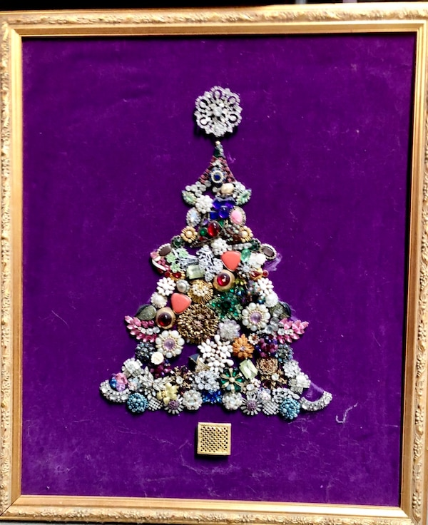 Victorian framed Christmas tree made of costume jewelry