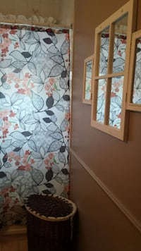 white and gray floral print window curtain Laval, H7X 2B1