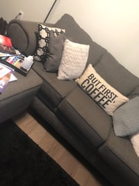 gray fabric sectional sofa with throw pillows Washington