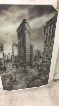 greyscale photo of flat-iron building poster New York, 11356