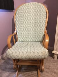 Wooden rocking chair with green and white padding   Burlington, L7L 4B2