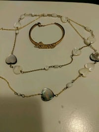 Leopard bangle and mother of pearl necklace Toronto, M5G 0A6
